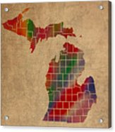 Counties Of Michigan Colorful Vibrant Watercolor State Map On Old Canvas Acrylic Print
