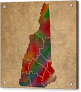 Counties Of New Hampshire Colorful Vibrant Watercolor State Map On Old Canvas Acrylic Print