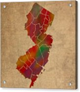 Counties Of New Jersey Colorful Vibrant Watercolor State Map On Old Canvas Acrylic Print