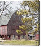 Country Barn With Pine Tree Acrylic Print