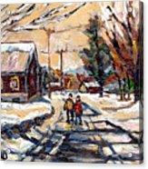 Purchase Best Original Quebec Winter Scene Paintings Achetez  Paysage De Quebec Cspandau Art Acrylic Print
