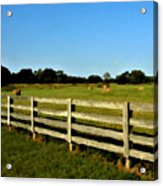 Country Scene With Field And Hay Bales Acrylic Print