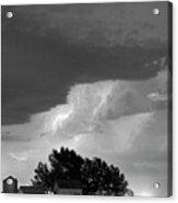 County Line Northern Colorado Lightning Storm Bw Acrylic Print