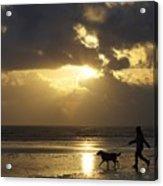 County Meath, Ireland Girl Walking Dog Acrylic Print