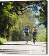 Couple Enjoying A Back Road Bike Ride Acrylic Print