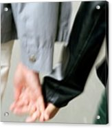 Couple Holding Hands While Strolling Down The Street Acrylic Print
