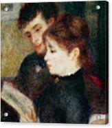 Couple Reading Acrylic Print by Pierre Auguste Renoir