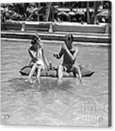 Couple Relaxing In Pool, C.1930-40s Acrylic Print