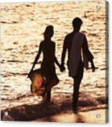 Couple Wading In Ocean Acrylic Print