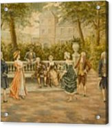 Couples On Veranda Of Chateau Acrylic Print