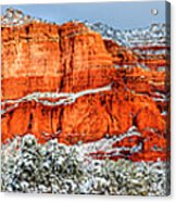 Courthouse Butte And Bell Rock Under Snow Acrylic Print
