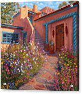 Courtyard Garden In Taos Acrylic Print