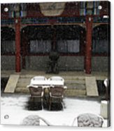 Courtyard In The Snow Acrylic Print