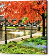 Covered Bridge Along Riverwalk Acrylic Print