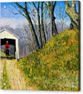 Covered Bridge And Cowboy Acrylic Print
