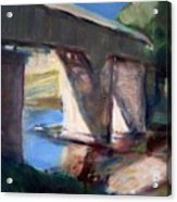 Covered Bridge At Low Water Acrylic Print