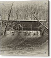 Covered Bridge In Black And White Acrylic Print