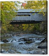 Covered Bridge Over Brown River Acrylic Print