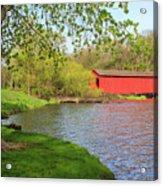 Covered Bridge Over The Lake Acrylic Print