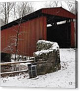 Covered Bridge Over The Wissahickon Creek Acrylic Print by Bill Cannon