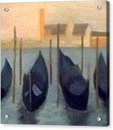 Covered Gondolas At Venice Acrylic Print