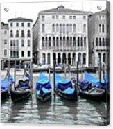 Covered Gondolas In Blue Acrylic Print