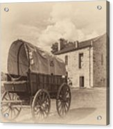 Covered Wagon And Stone Building Sepia Acrylic Print