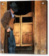 Cowboy By Saloon Doors Acrylic Print