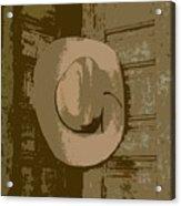 Cowboy Hangs It Up Square Format 1 Acrylic Print