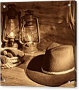 Cowboy Hat And Kerosene Lanterns Acrylic Print