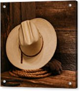Cowboy Hat And Gear Acrylic Print