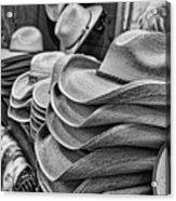 Cowboy Hats Black And White Acrylic Print