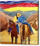 Cowboy Kisses Cowgirl Acrylic Print