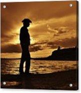 Cowboy Silhouette At Wilson Lake In Kansas Acrylic Print