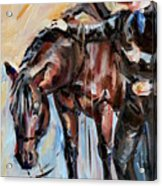 Cowboy With His Horse Acrylic Print