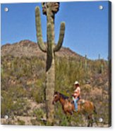Cowgirl And The Crested Saguaro Acrylic Print