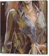 Cowgirl Acrylic Print by Nelya Shenklyarska