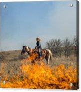 Cowgirl Watching Over Burn Acrylic Print