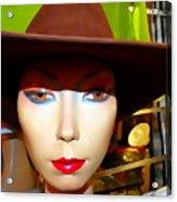 Coy Cowgirl Acrylic Print