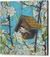 Crabapple Chickadees Acrylic Print