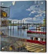 Crabpots And Fishing Boats Acrylic Print