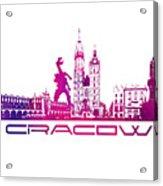 Cracow City Skyline Purple Acrylic Print