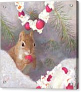 Cranberry Garlands Christmas Squirrel Acrylic Print