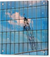 Crane Reflection - Atlantic City Acrylic Print