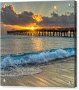 Crashing Waves At Sunrise Acrylic Print