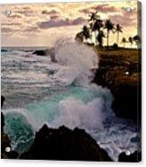 Crashing Waves At Sunset Acrylic Print