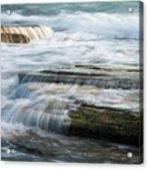 Crashing Waves On Sea Rocks Acrylic Print