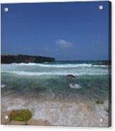 Crashing Waves Rolling Ashore On The Island Of Aruba Acrylic Print