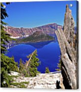 Crater Lake And Wizard Island Acrylic Print