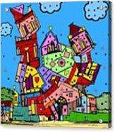 Crazy Building Popart By Nico Bielow Acrylic Print